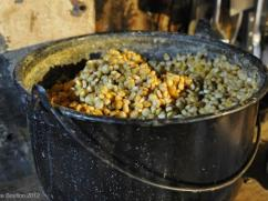 Preparing the corn to grind to make tortillas.